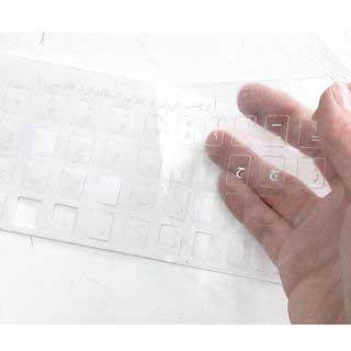 برچسب حروف فارسی کیبورد شفاف با حروف سفید